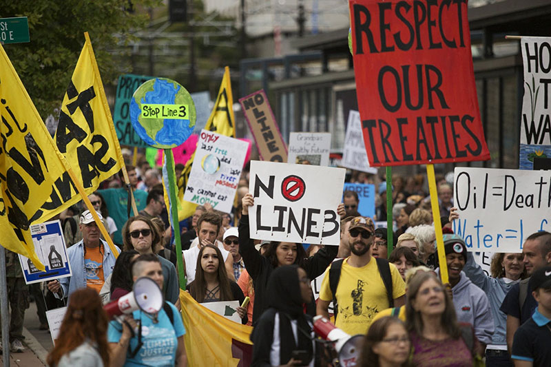 Stop Line 3 protestors march in Minnesota. Ellen Schmidt / MPR News